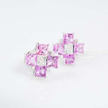 Pink Square Earstuds