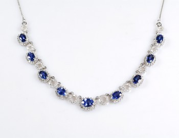 Blue Diamond Cluster Necklace